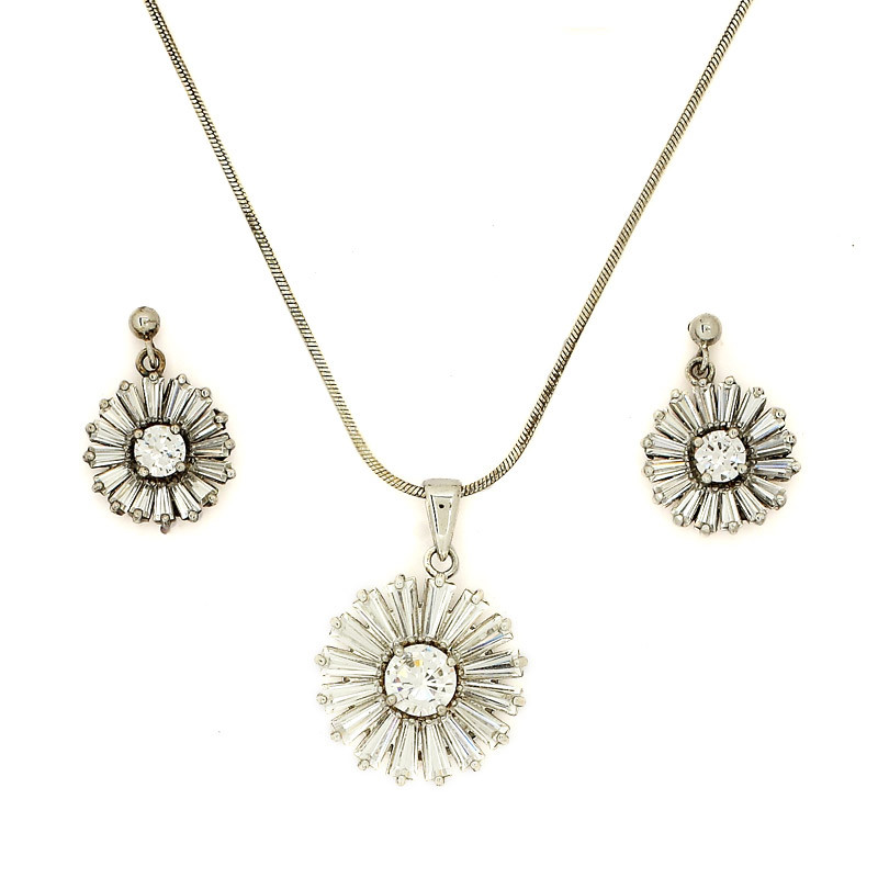 Ice Crystal shaped Silver Necklace with Earrings