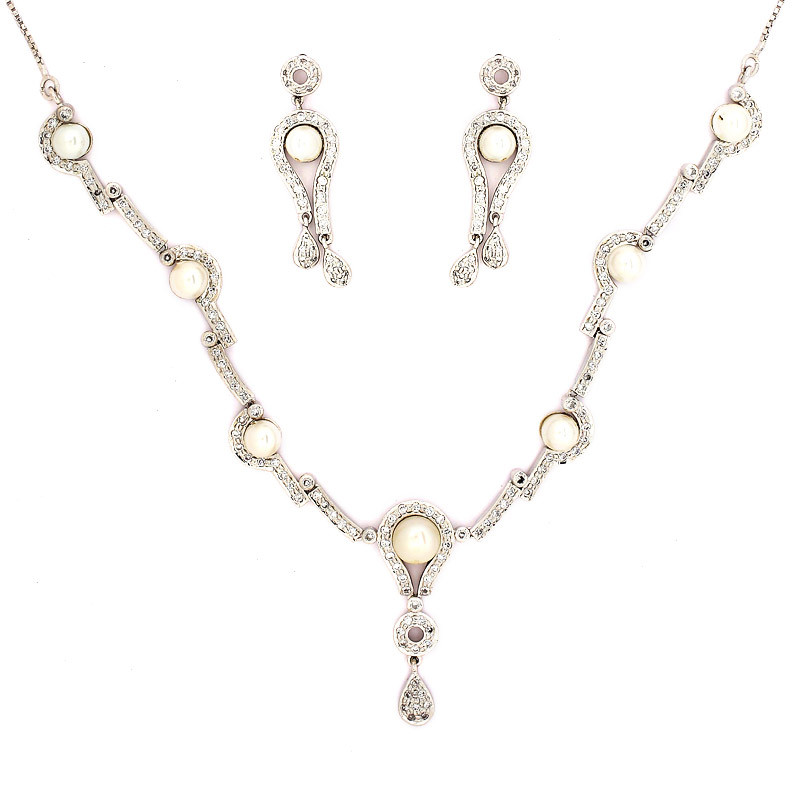 Natural Pearl Designer Silver Necklace Set