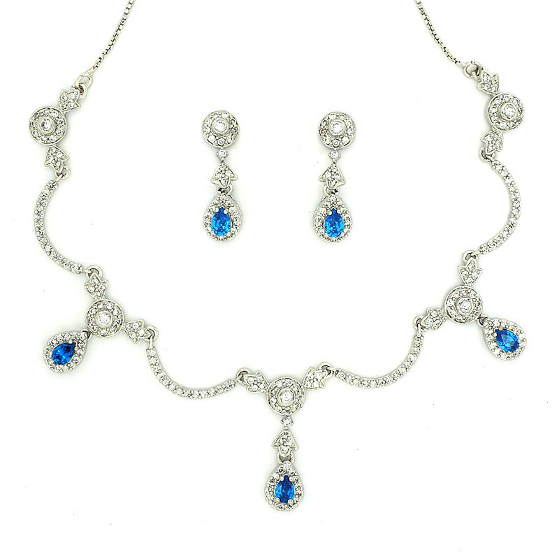 Pear Cut Blue Topaz Victorian Style Necklace