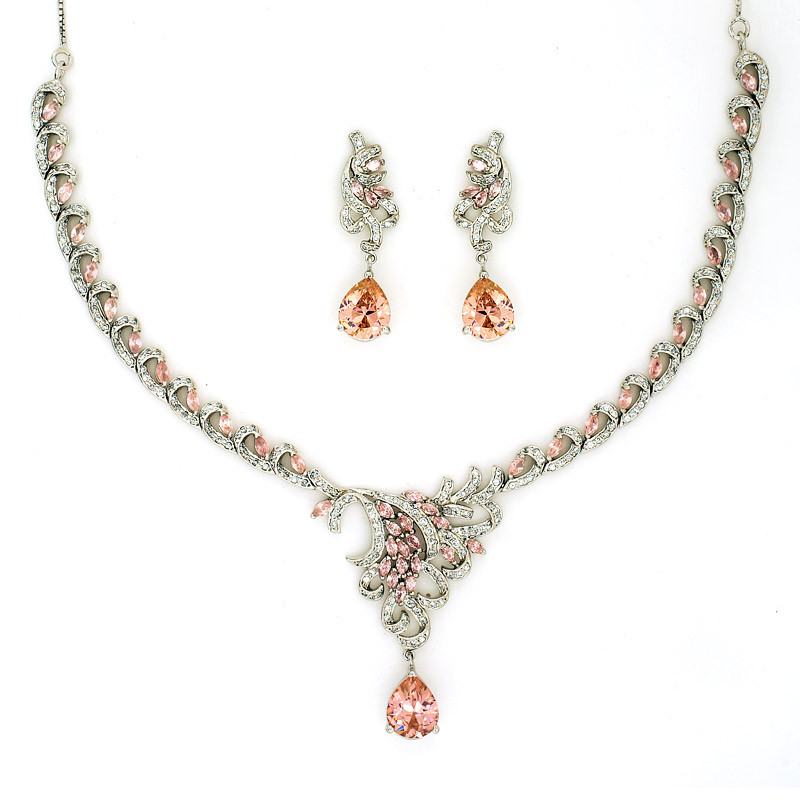 Marquis Shaped Gemstone Necklace with Pear Drop