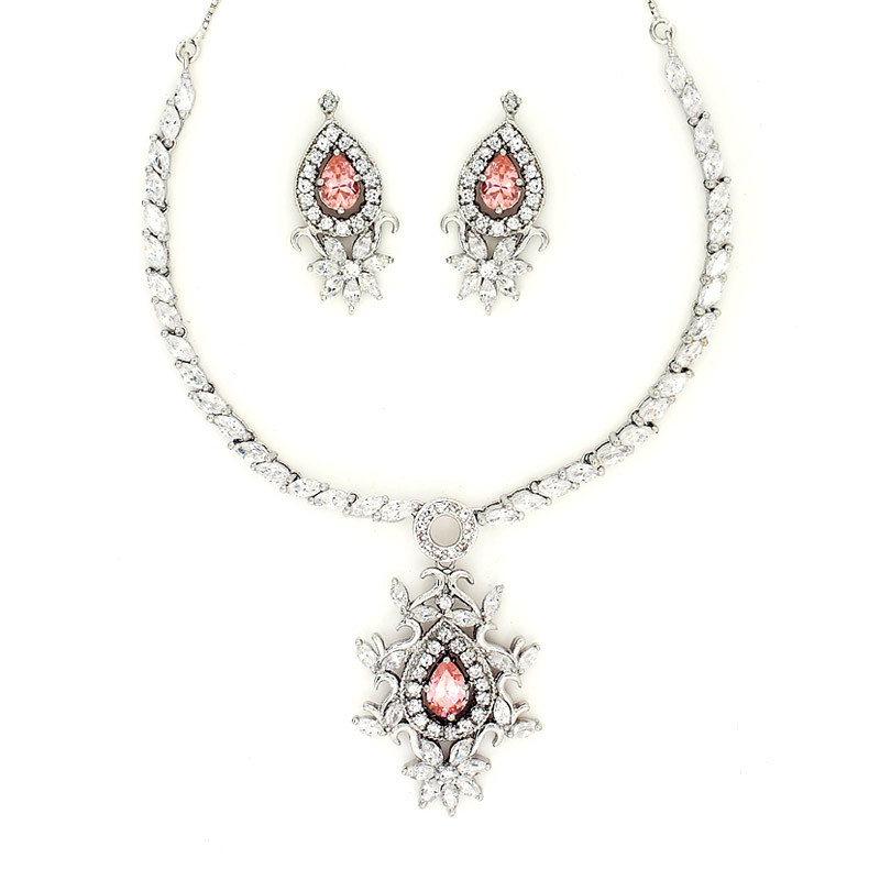 Pink Stone Silver Necklace with Earring