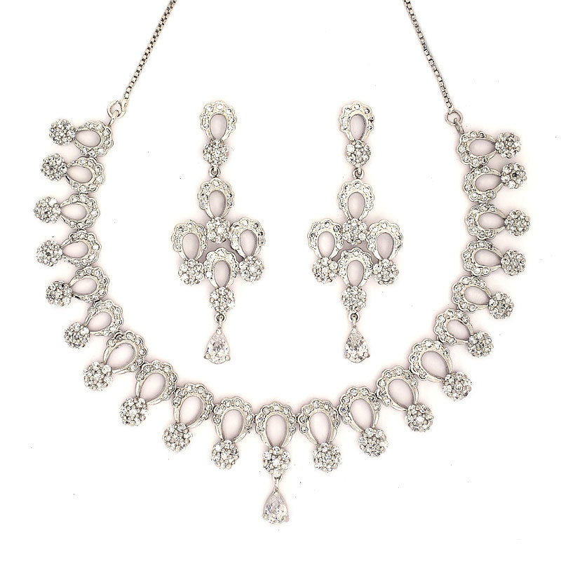 Designer Bridal Silver Necklace with Earring
