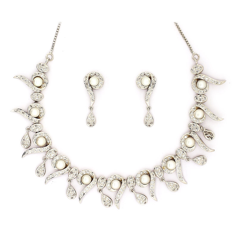 Pave Pearl Necklace with Earrings