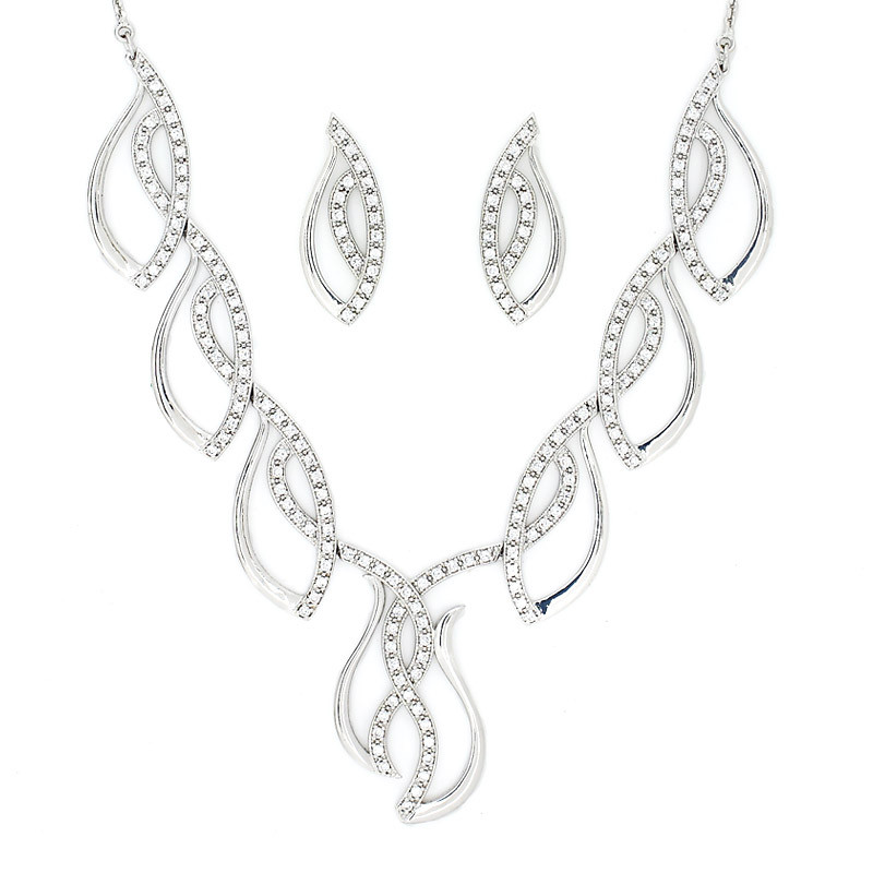Diamond Finish Silver Necklace with Earring