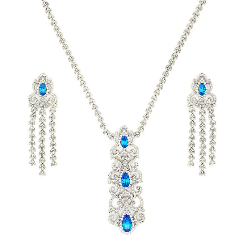 Diamond Finish Bridal Necklace with Earring