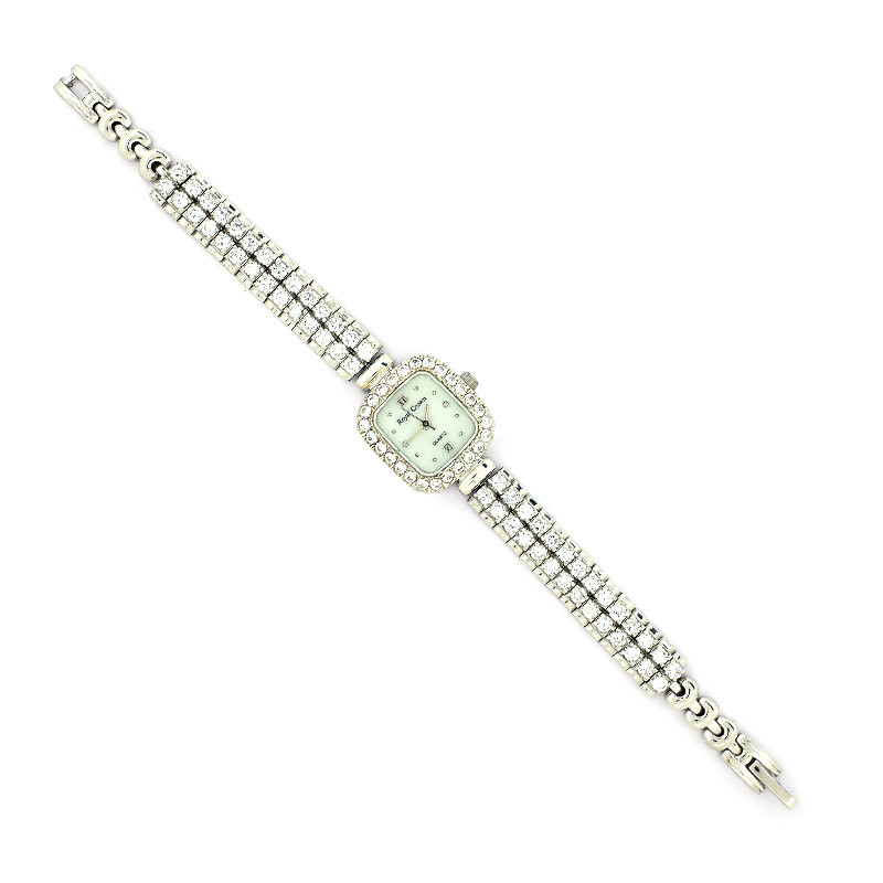 White Face Stone Set Silver Ladies Watch