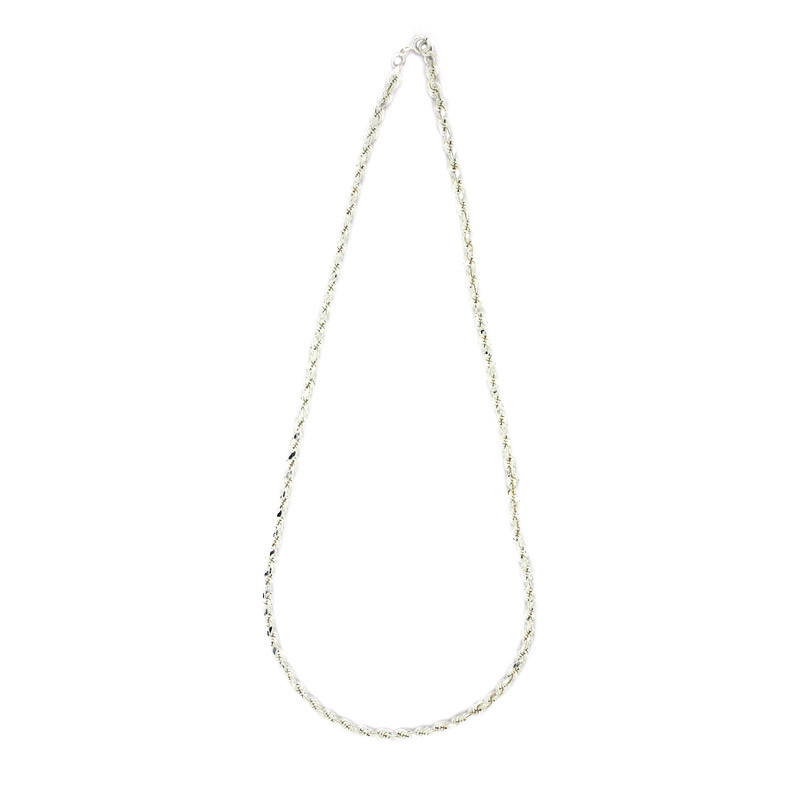 Silver Twisted Rope Long Chain