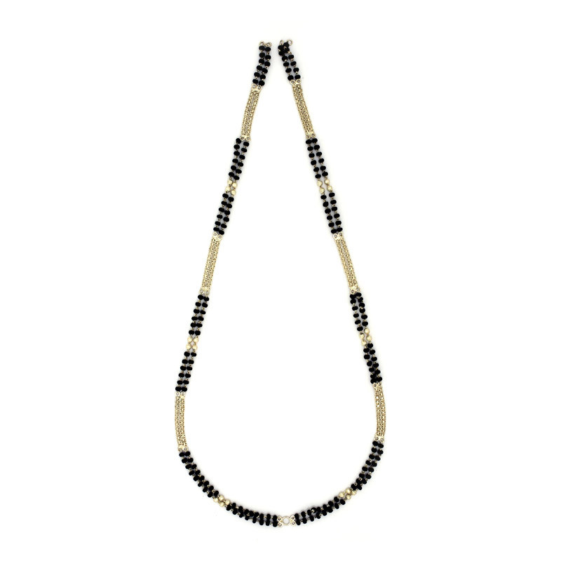 Silver Black Beads Chain