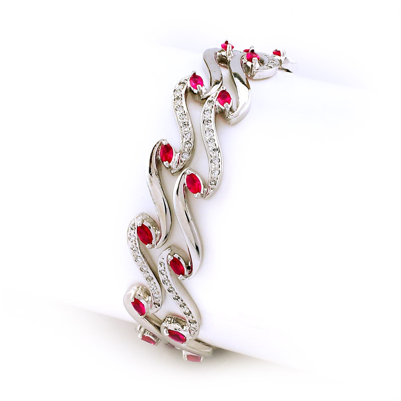 High Polished Designer Bangles with center Red