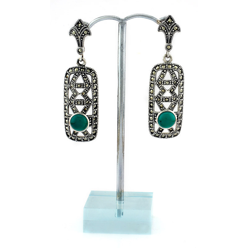 Margaret Stone Earrings with center Green
