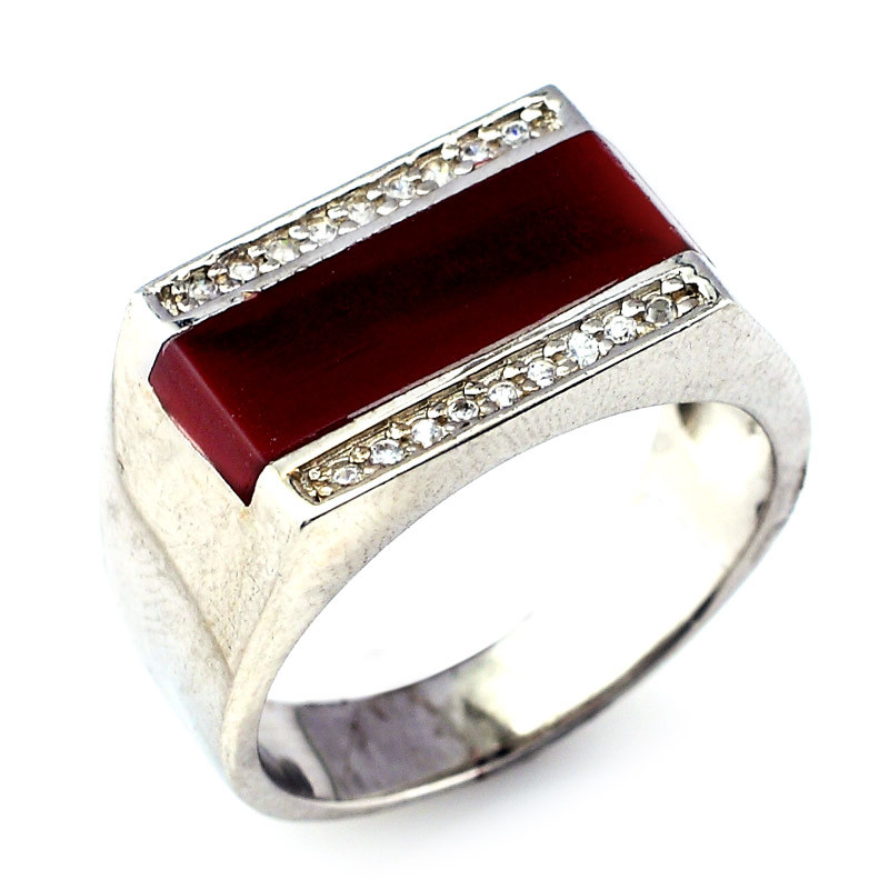 Silver D Shape Stone Ring