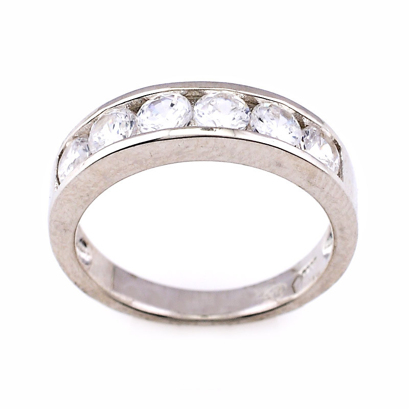 Silver Chennel set Stone Ring