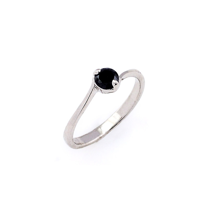 Silver crossover black Stone Ring