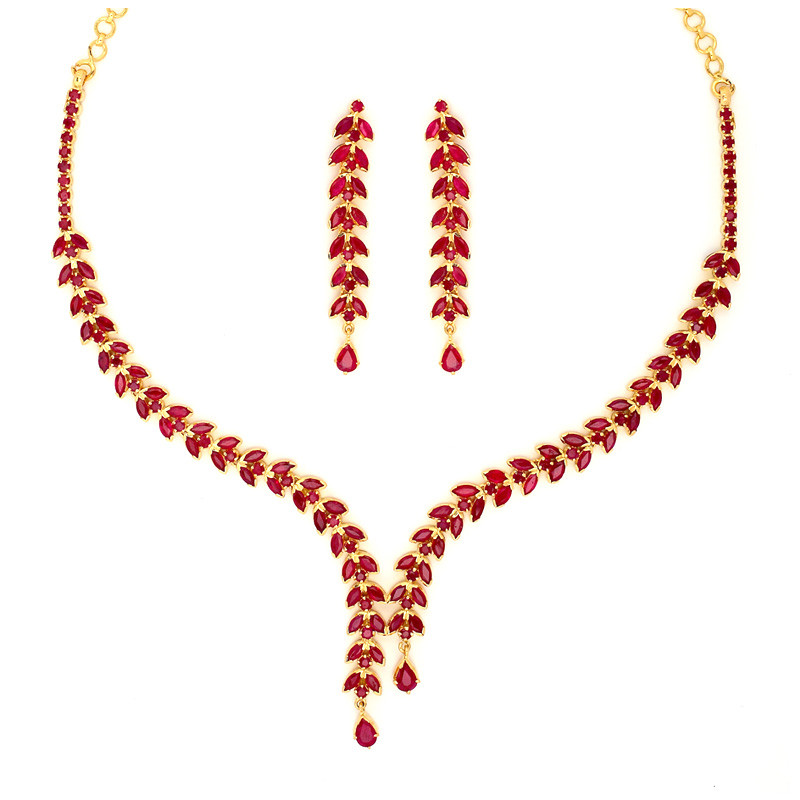 Ruby Two Strand olive leafs Necklace Set