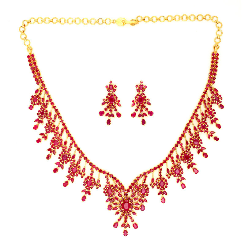Exclusive Designer Ruby Necklace Set