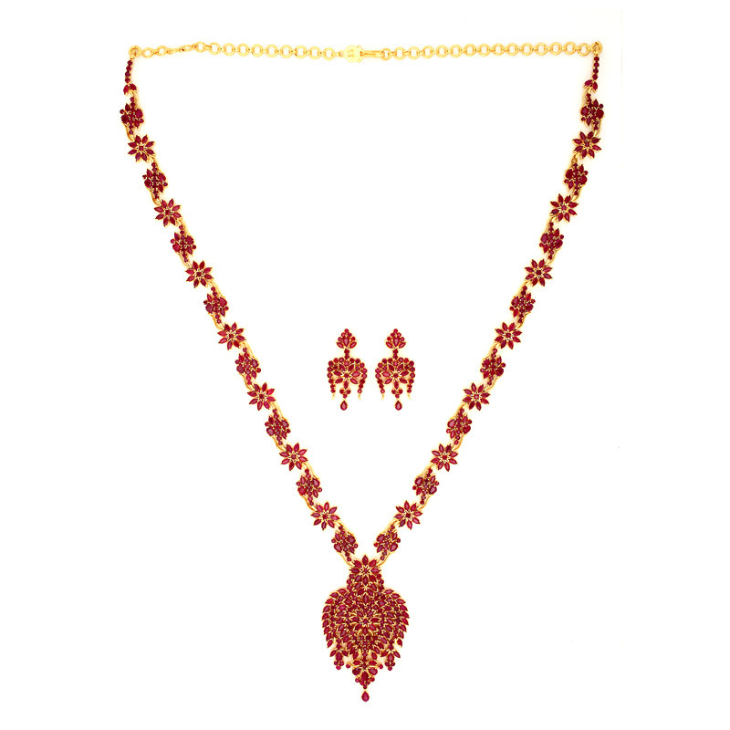 Traditional South Indian Bridal Ruby Haram Set