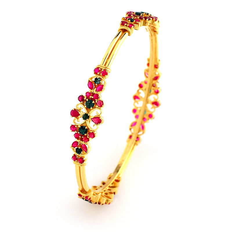 Designer Ruby Emerald Bangle