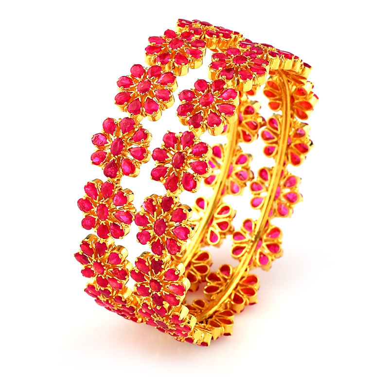 ruby indian floral motif ruby bangles grt jewellers