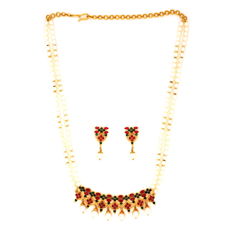 Two Strand Pearl Necklace with Ruby & Emerald Pendant Set