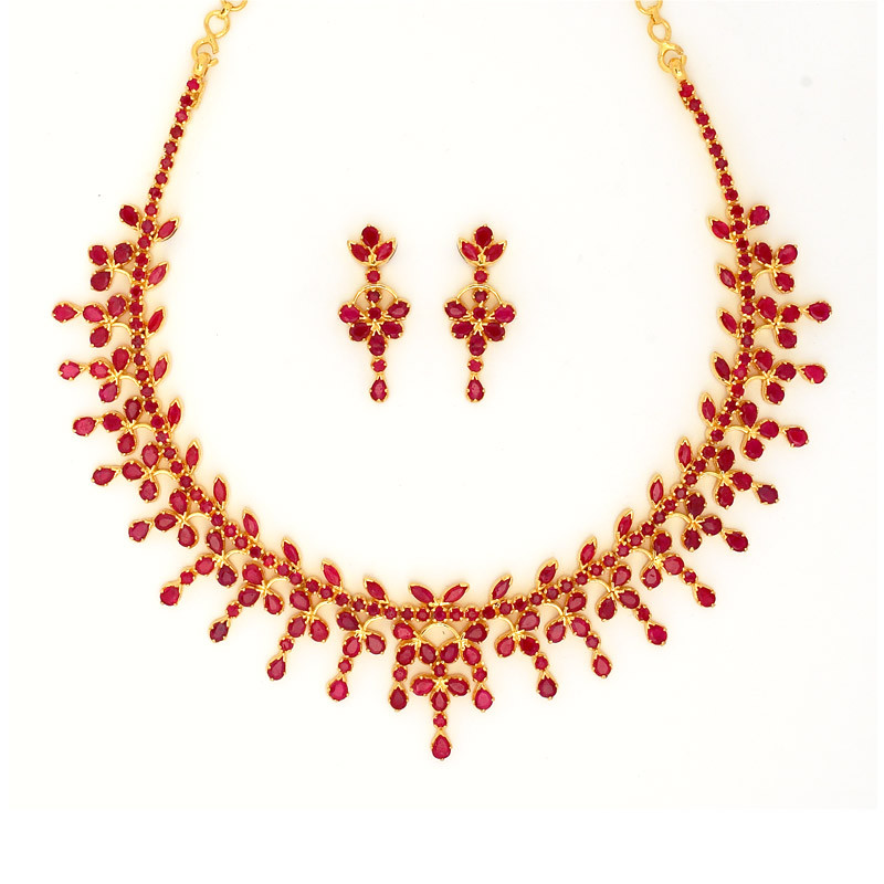 Traditional South Indian Design Ruby Necklace Set