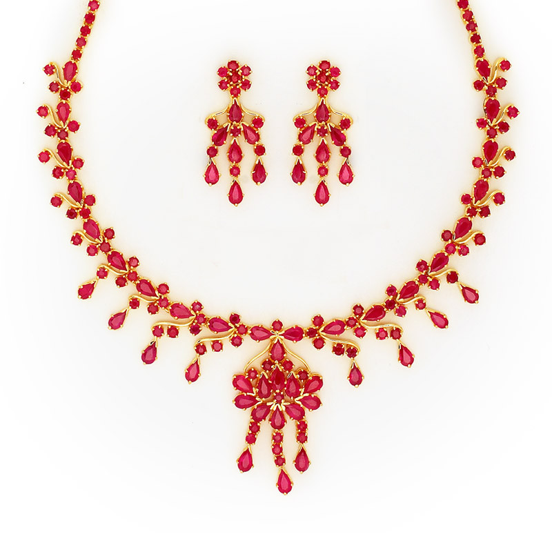 Australian Red Rubies Color Studded Necklace Set with Tear drop