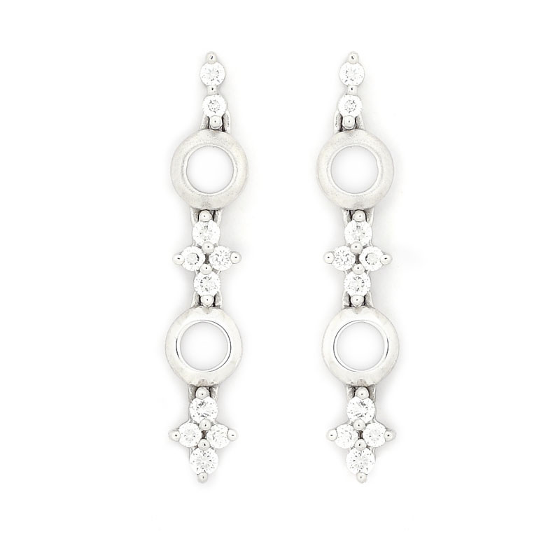 Platinum Four Stone Long Diamond Earrings