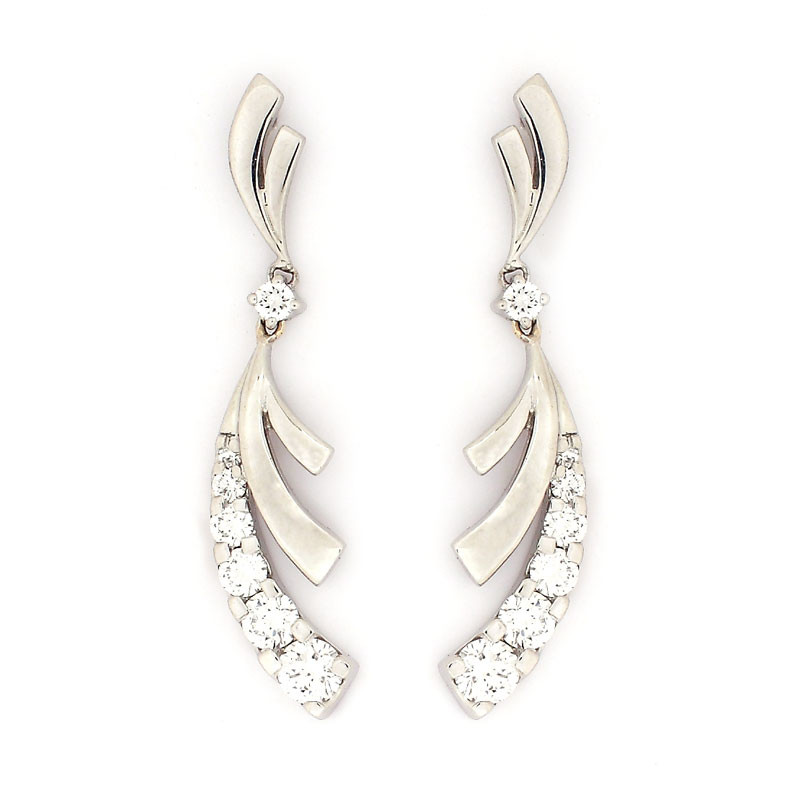 Platinum Diamond Ribbon Earrings