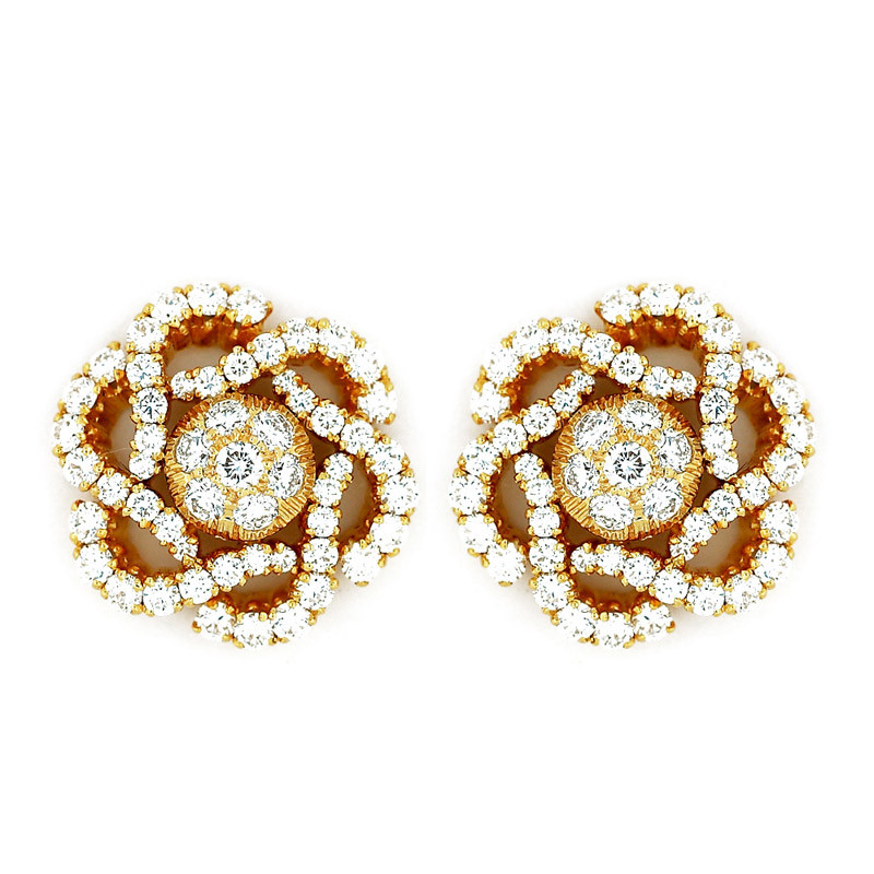 Simulated Diamond Flower Ear Studs