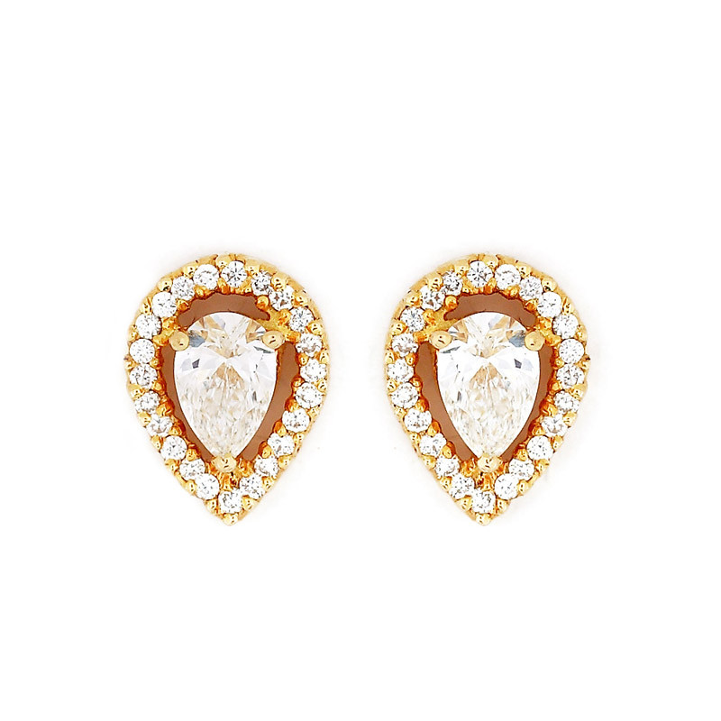 Pear Shaped Solitaire Diamond Ear Studs