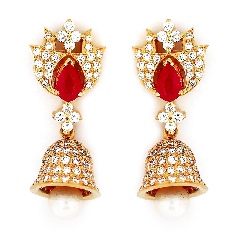 Diamond Jimiki with Pear Shape Lorique Ruby Stud