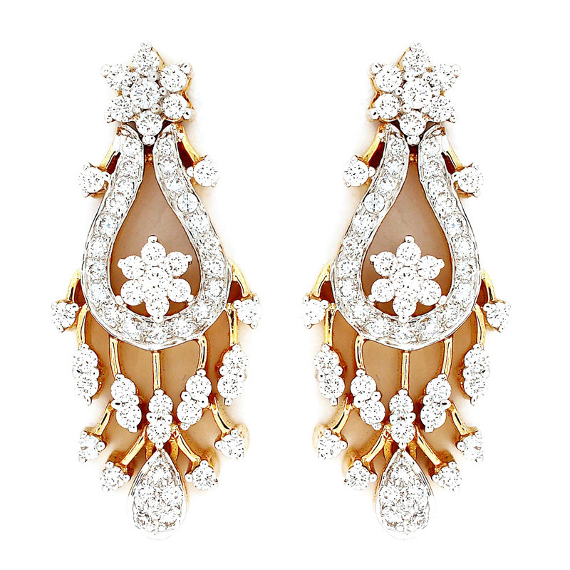 Victorian Style Diamond Chandelier Earrings