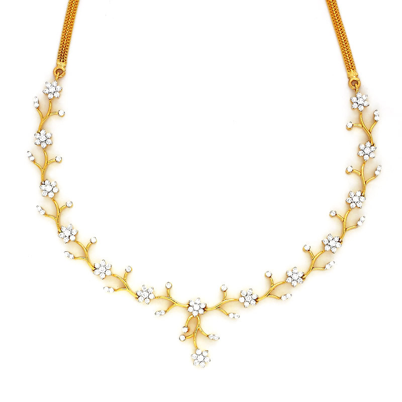 Six Petal Flower and Leaf Diamond Necklace