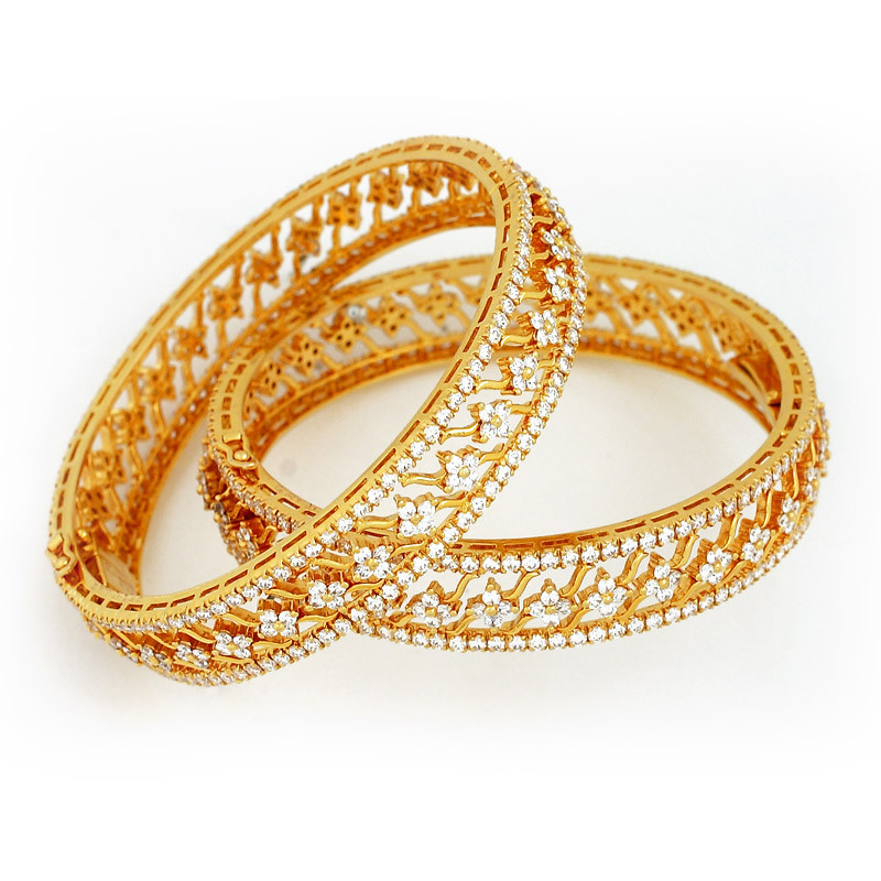 Ethnic Floral Design Diamond Bangles
