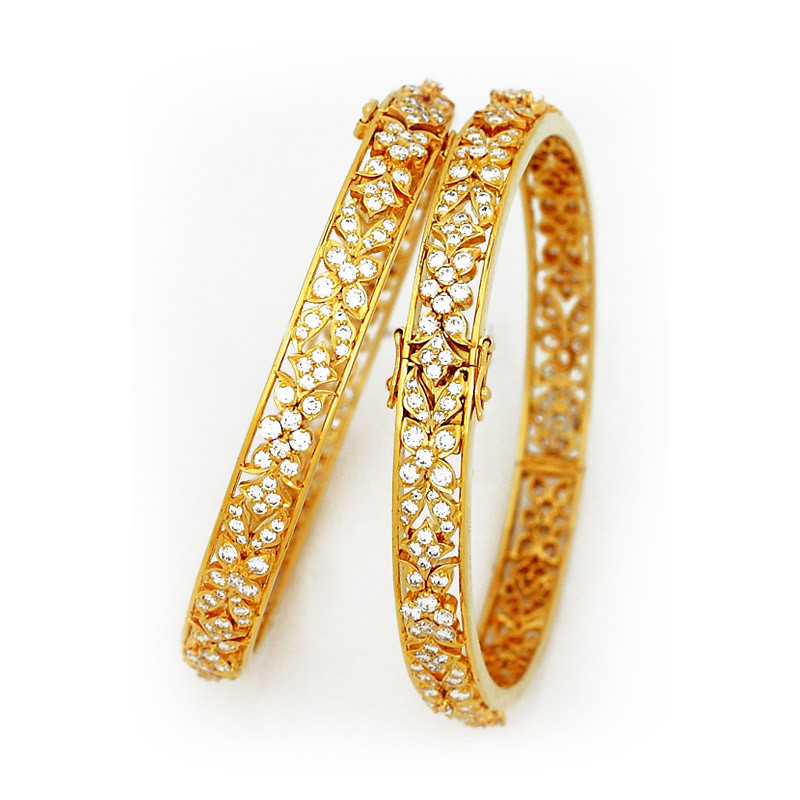 Clip and Hing Type Traditional Bridal Diamond Bangles