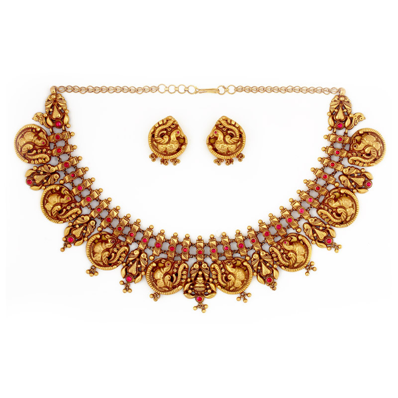 Beautifully handcrafted Annapakshi Necklace set