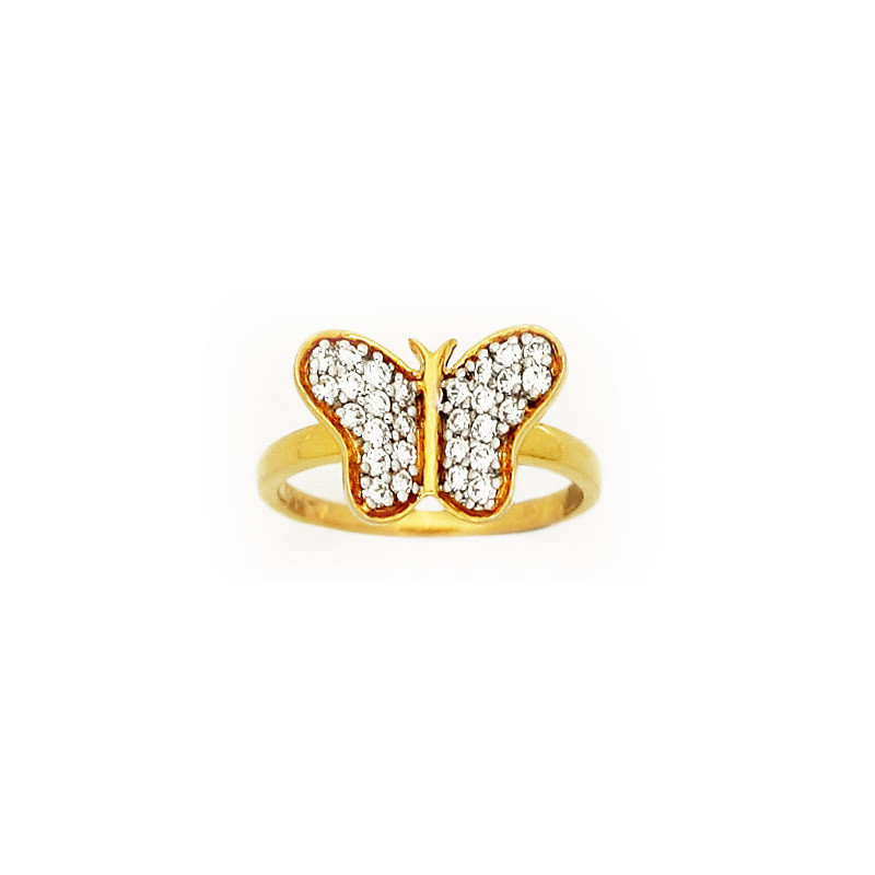 Yellow Gold Butterfly Diamond Ring