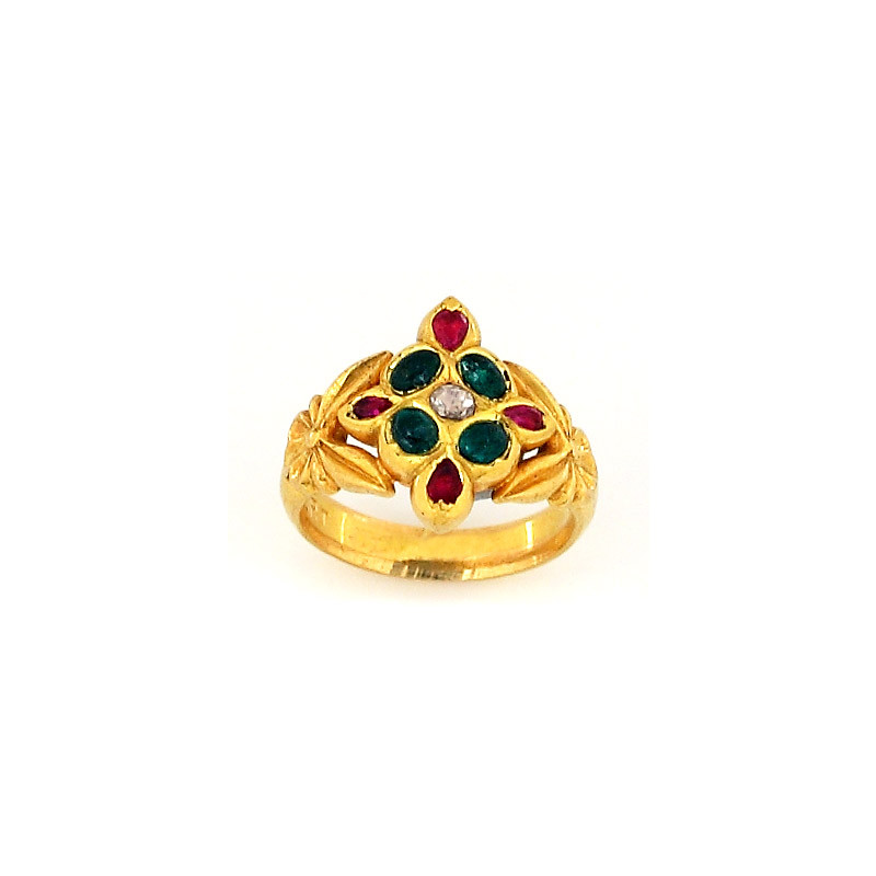 Antique Ruby & Emerald Ring with center Uncut Diamond