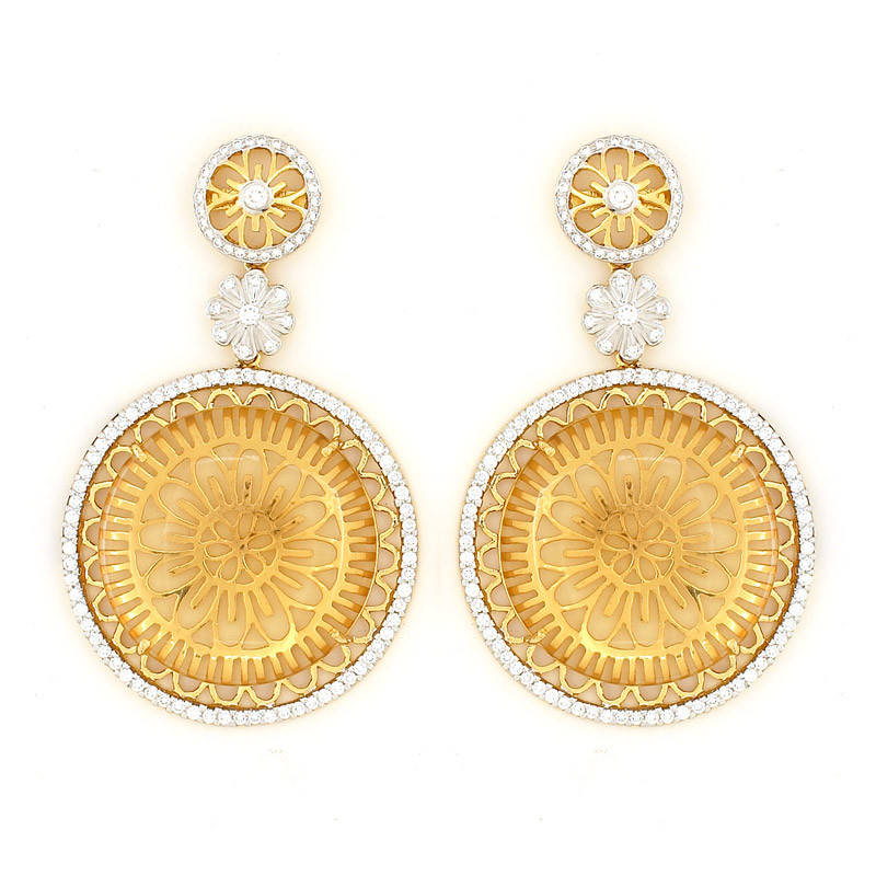 The Lotus Flower Pave Diamond Hanging Earrings