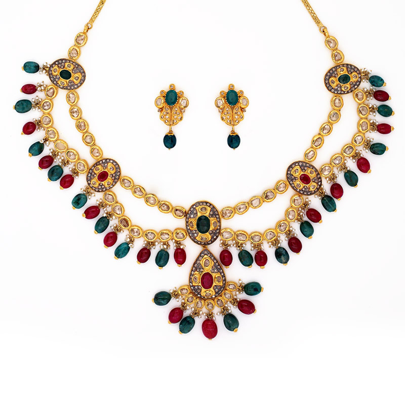 Romanian Style uncut Diamond Necklace with Ruby & Emerald Drops