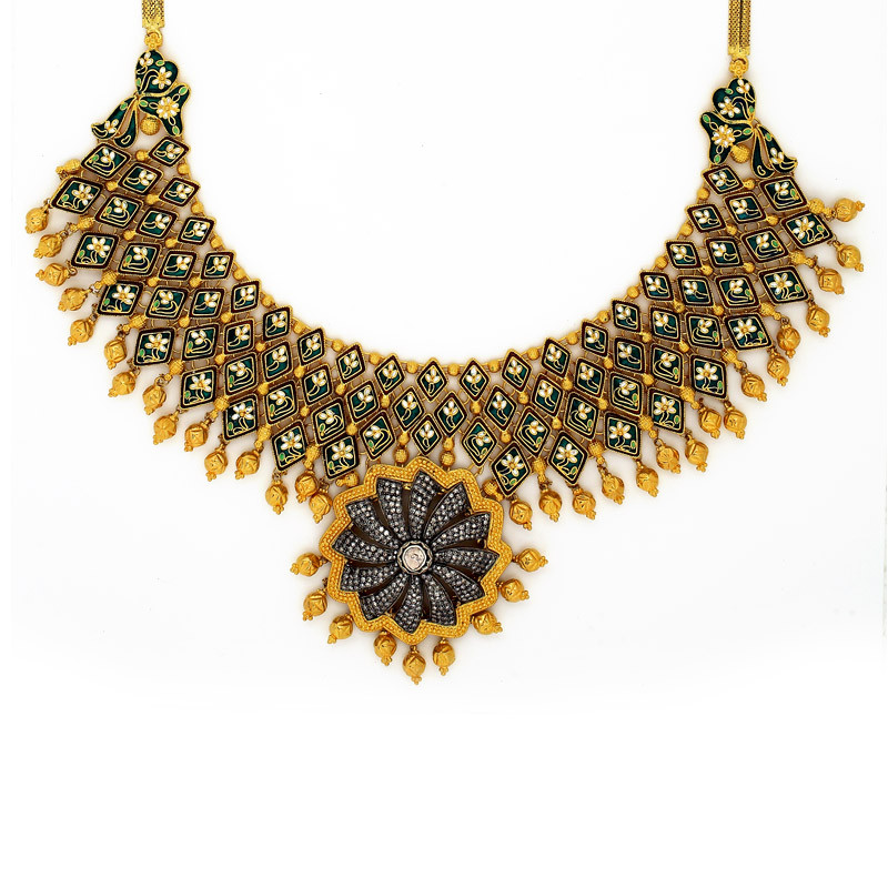Handcrafted Indian Enamel Necklace with Uncut Diamonds