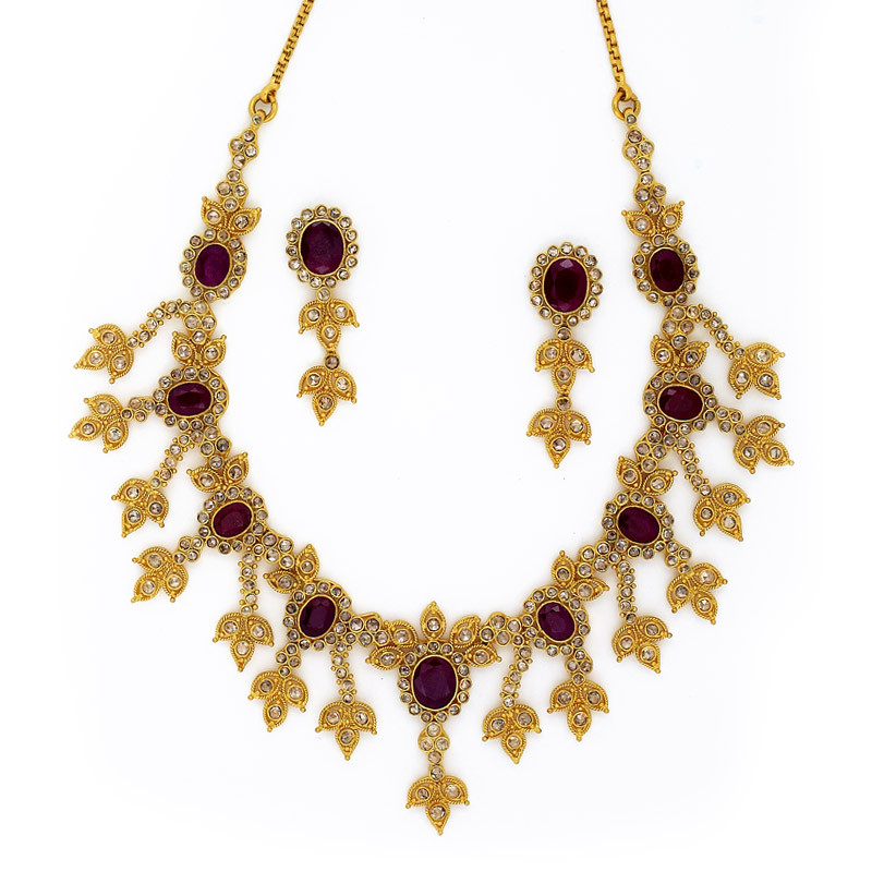 Polki Diamond Bridal Necklace Set with Australian Red Ruby