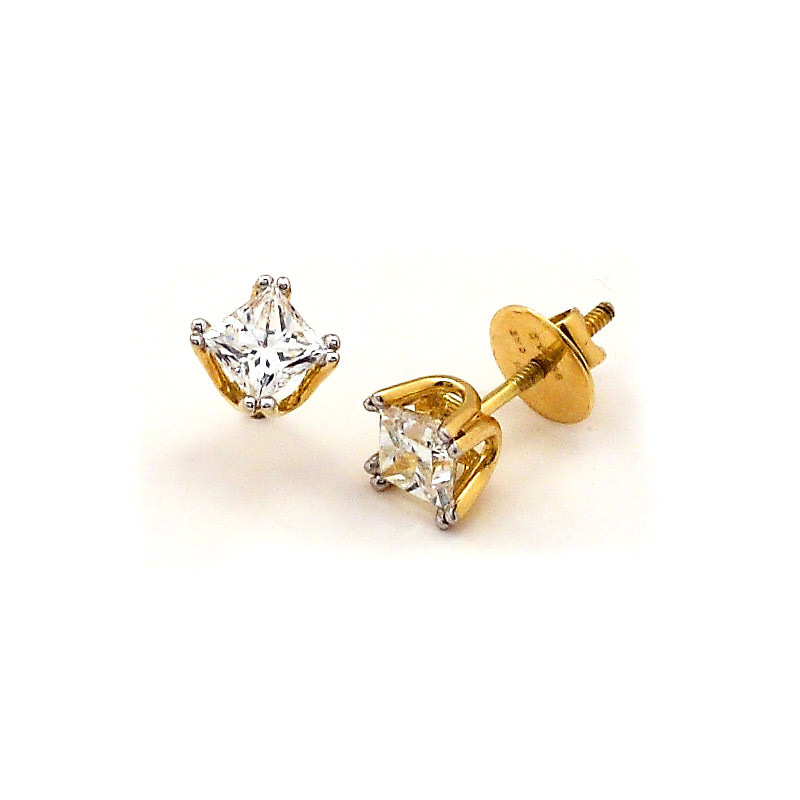 Princess Cut Four Claw Diamond Ear stud