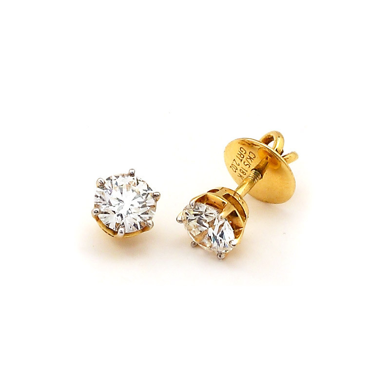 Round Brilliant Cut Four Claw Diamond Ear stud