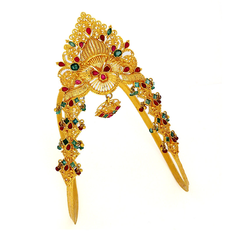 Ruby & Emerald Studded Bridal Armlet - Vanki