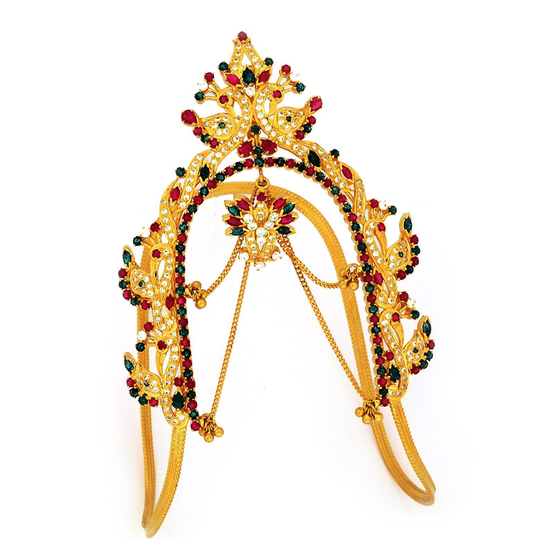 Zircon & Ruby Emerald Studded Peacock Armlet - Vanki