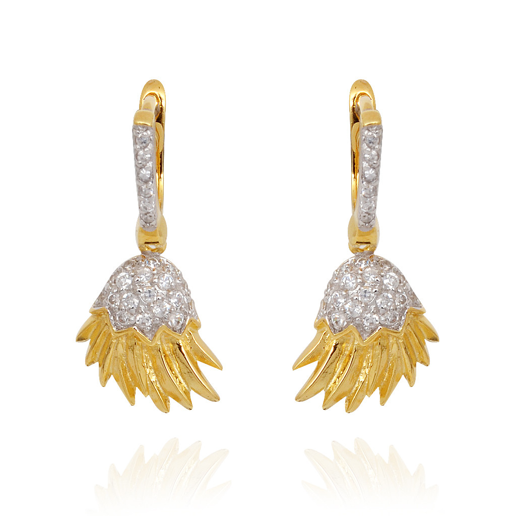 Yellow Colour With Matt Finish White Stones Silver Earrings