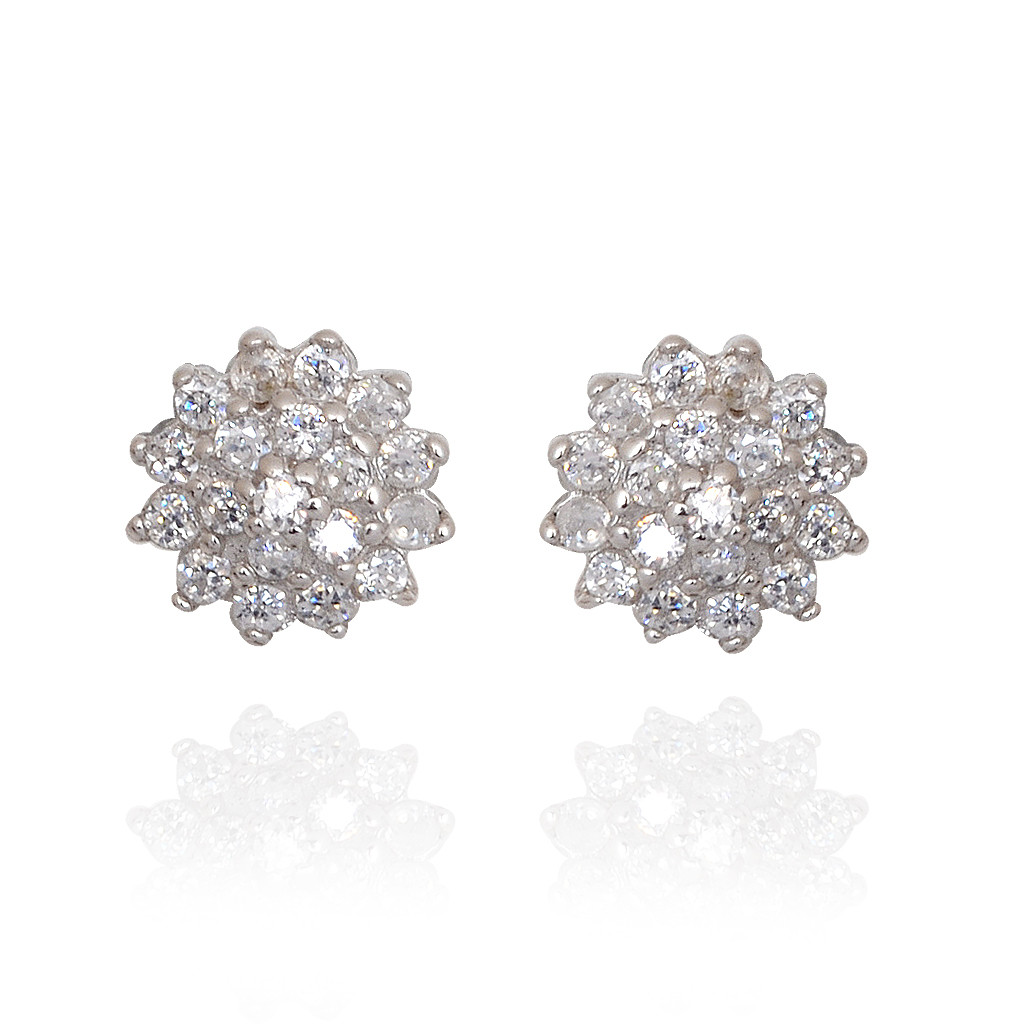 925 Elegant Stones Flower Silver Earrings