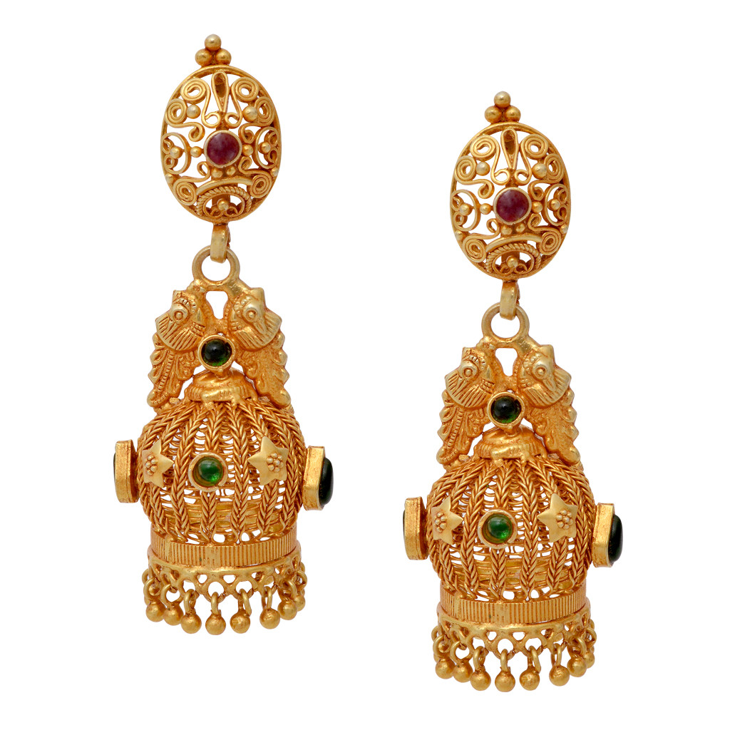 Elegant Annapakshi With Star Studded Silver Jimmiki