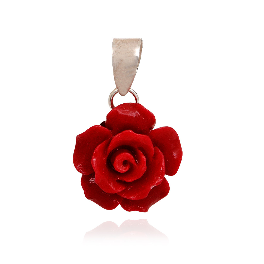 Crimson Red Rose Pendant