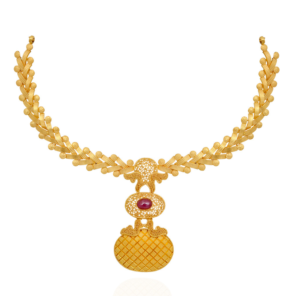 Gold necklace designs in grt jewellers - Centered Red Stones Studded Beautiful Gold Necklace